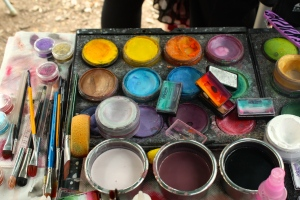 Detail of the face paint kit.